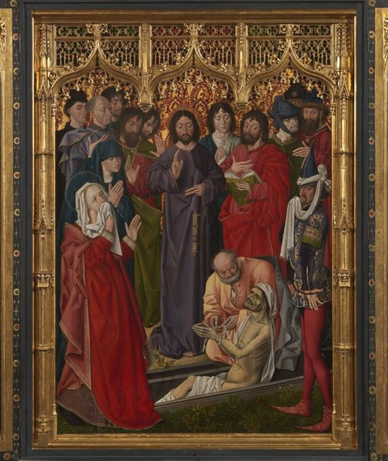 The restoration of Nicolas Froment's Triptych despicting the Raising of Lazarus
