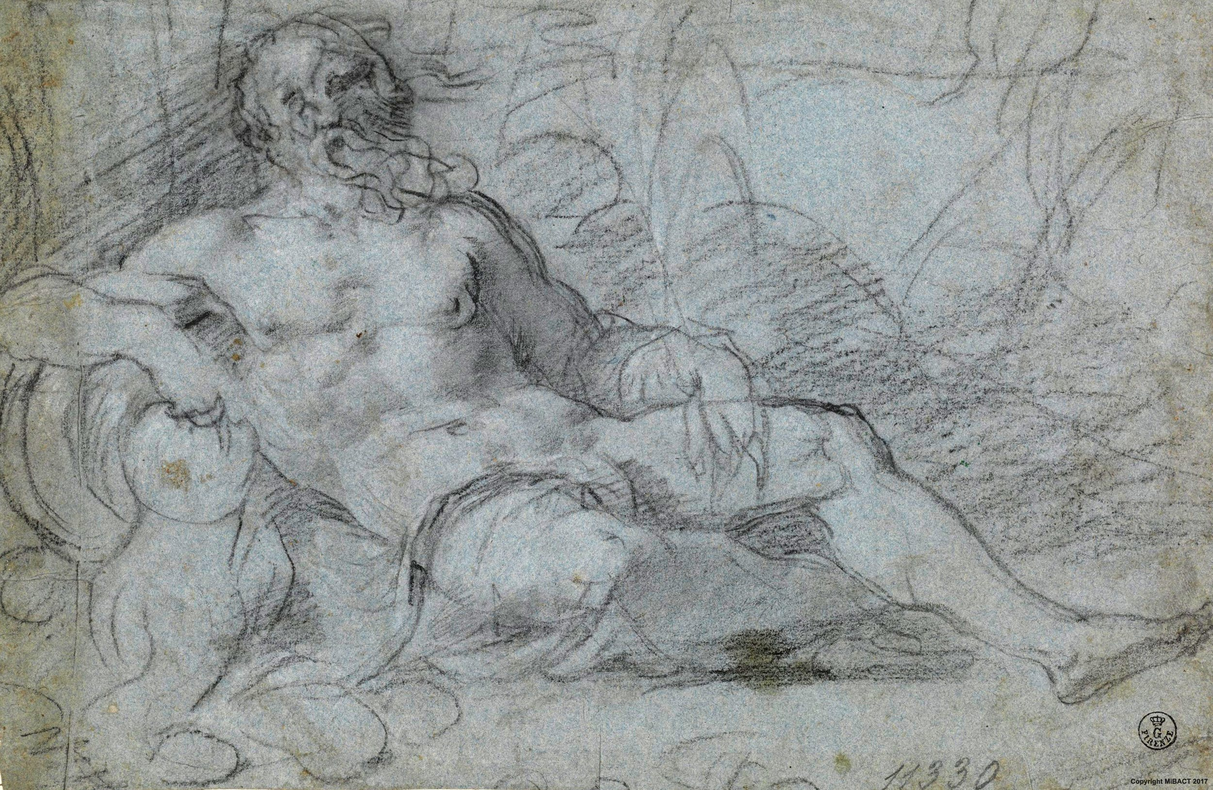 Pietra nera, carboncino, tracce di gessetto bianco, carta cerulea (179 x 272 mm) - Inv. 11330 F