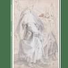 Figura maschile ammantata e studi della gamba sinistra; studi di panneggio