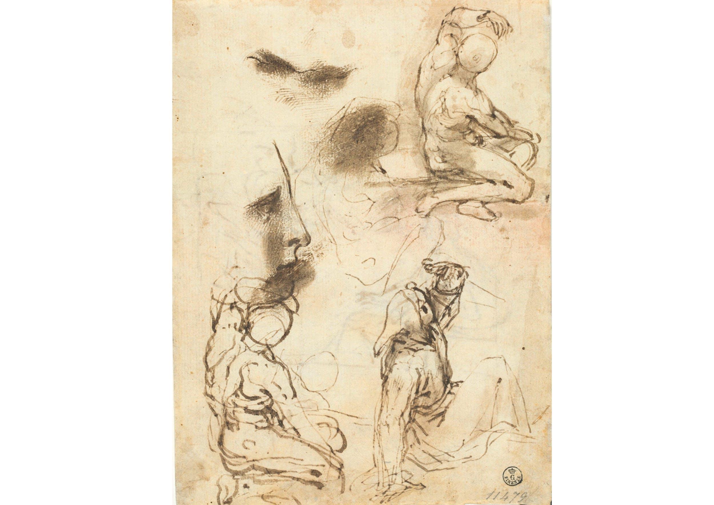Penna e inchiostro, pennello e inchiostro diluito, carta (225 x 171 mm.) - Inv. 11479 F recto