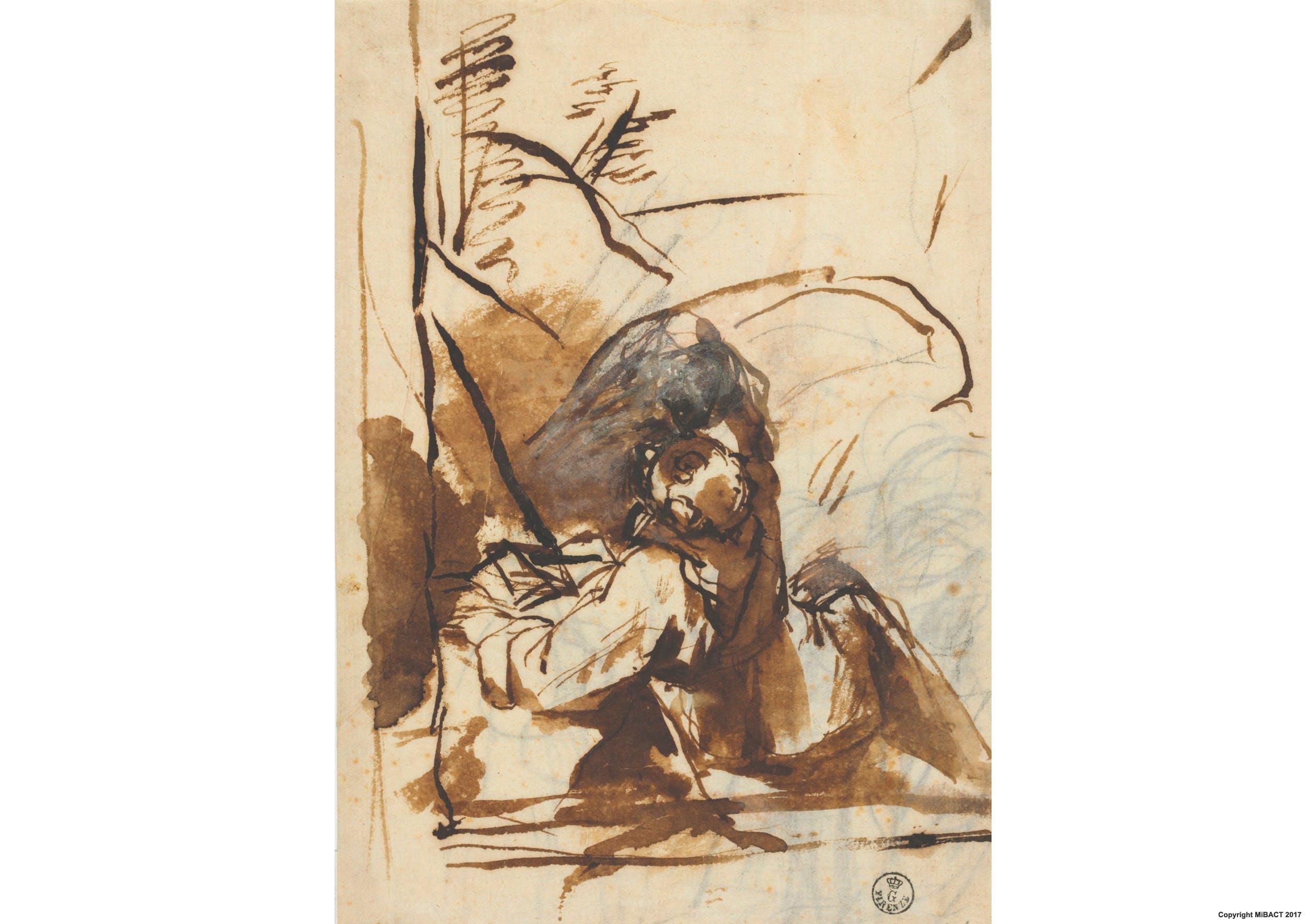 Penna e inchiostro, pennello e inchiostro diluito, biacca (carbonato basico di piombo), carta (200 x 136 mm.) - Inv. 11494 F recto