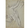 Partial Study of Two Nude Male Figures, One with Raised Arm, the Other on the Ground and Leg and Arm Studies of the First One