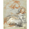 Tre studi di figura chinata e uno studio della testa