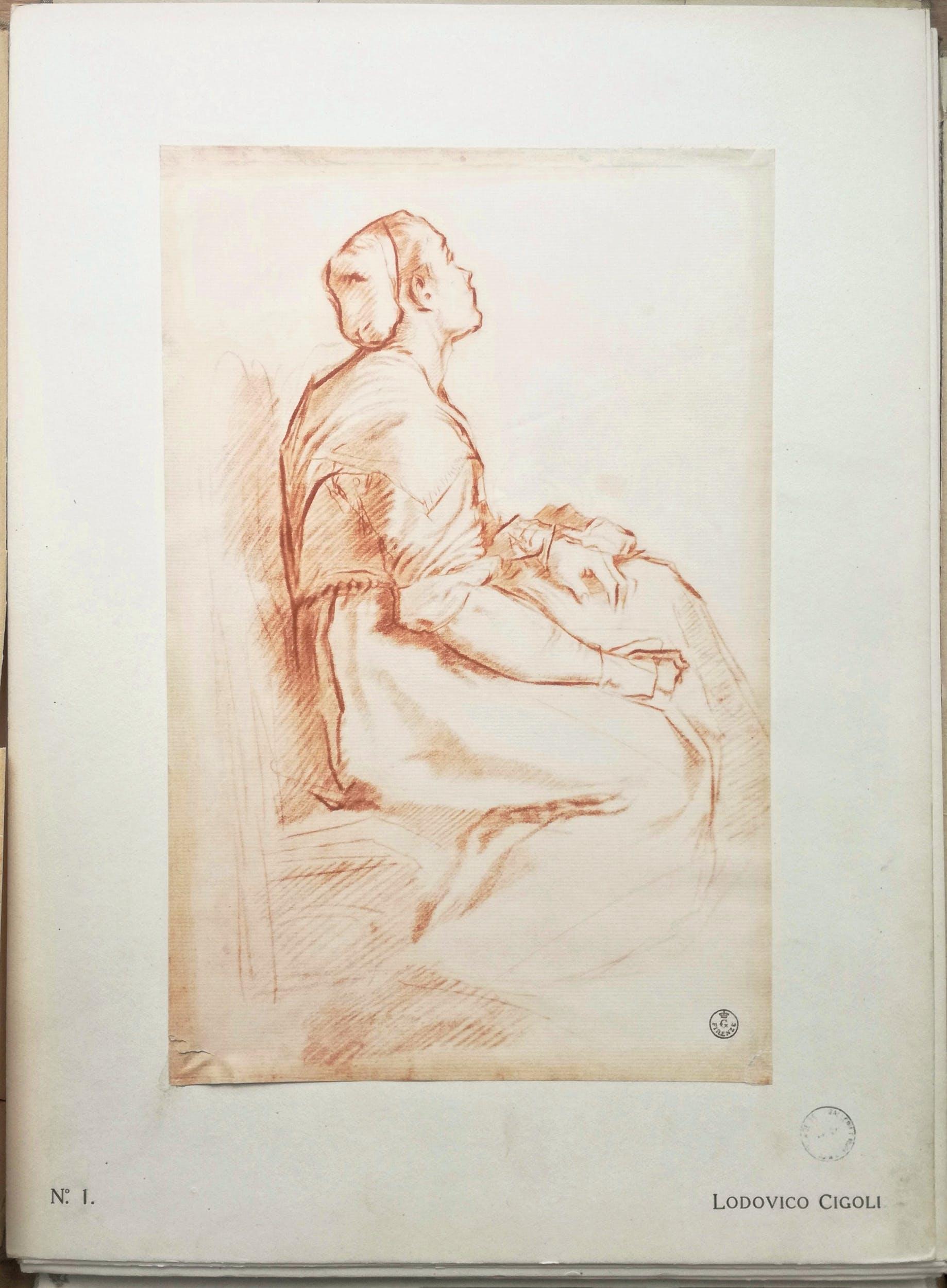 """Facsimile del disegno di L. Cigoli, """"Figura femminile seduta"""", Serie II, fasc. I del """"Portafoglio Olschki"""""""