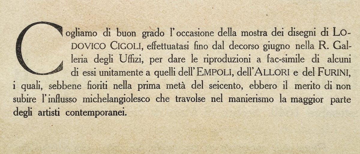 """Incipit del testo di P. N. Ferri, Serie II, Fasc. I, """"Portafoglio Olschki"""""""