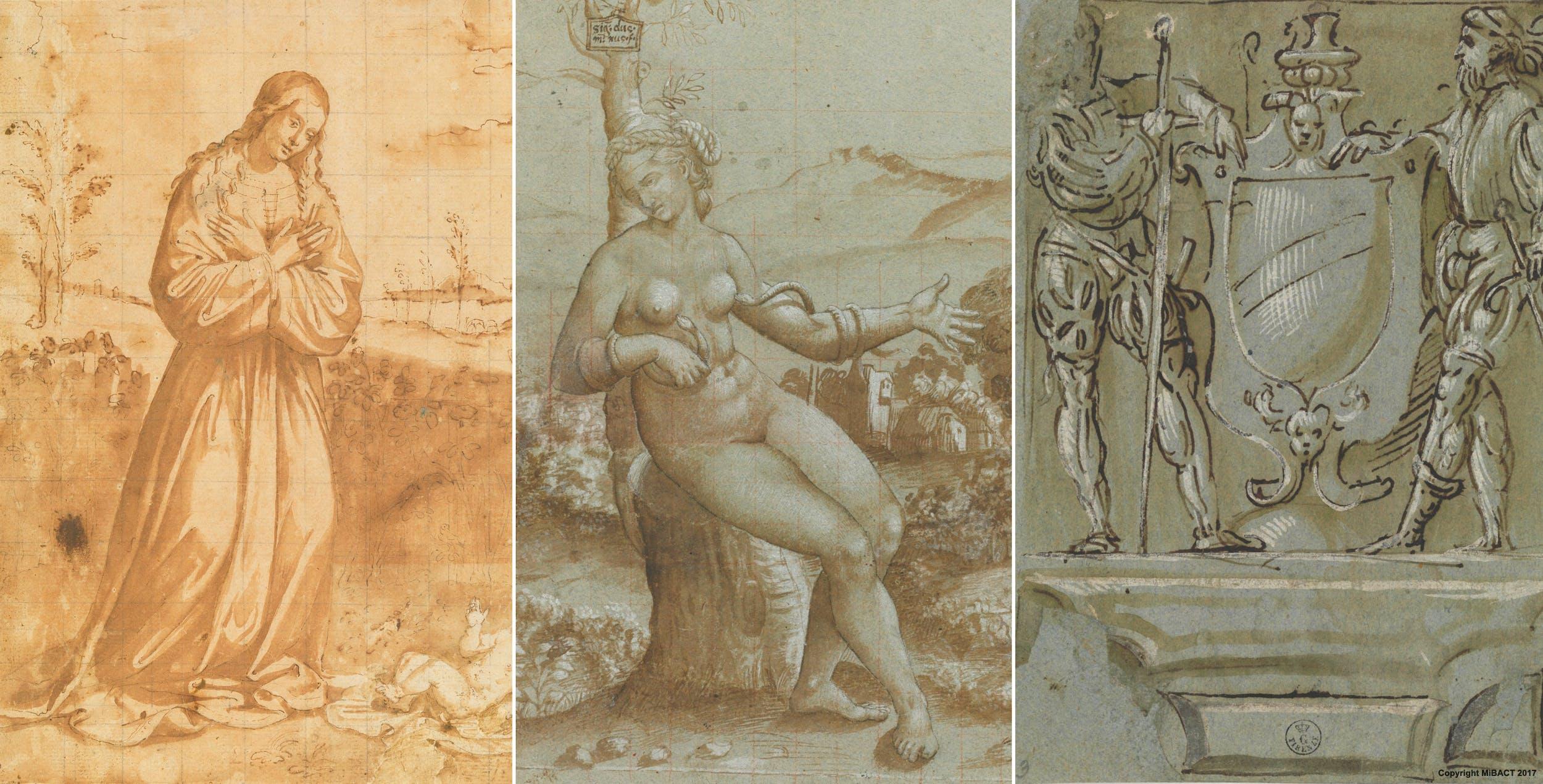Sezione I - Dettagli:  A) Il Francia, Madonna che adora Gesù  B) Il Francia, Morte di Cleopatra  C) Aspertini, Due soldati a fianco di uno stemma