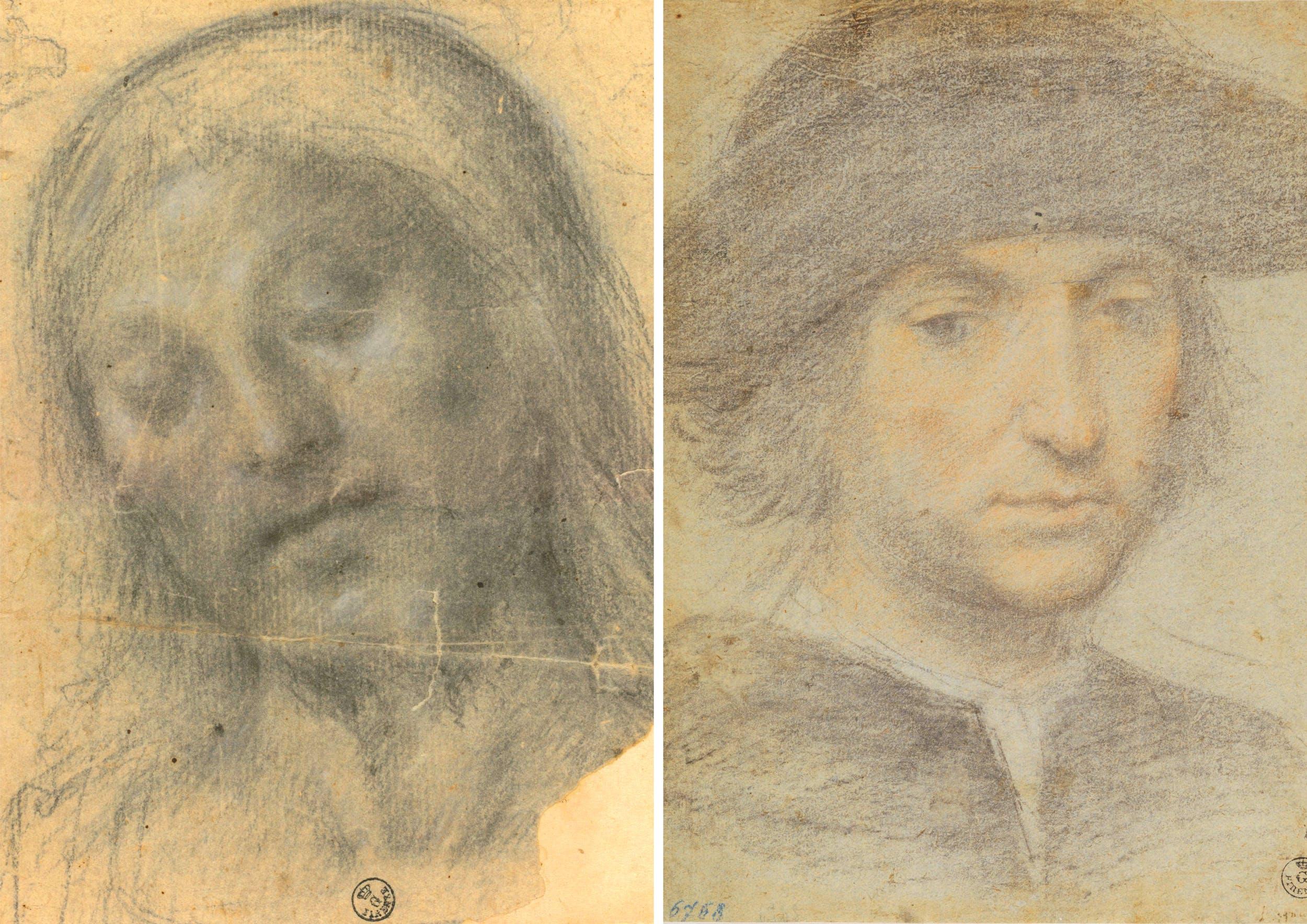 A) Pietra nera, gessetto bianco, carta (185 x 142 mm.) Inv. 14372 F recto - B)  Pietra nera, pastello rosa, pietra rossa, gessetto bianco, carta cerulea (278 x 212 mm.) - 6768 F
