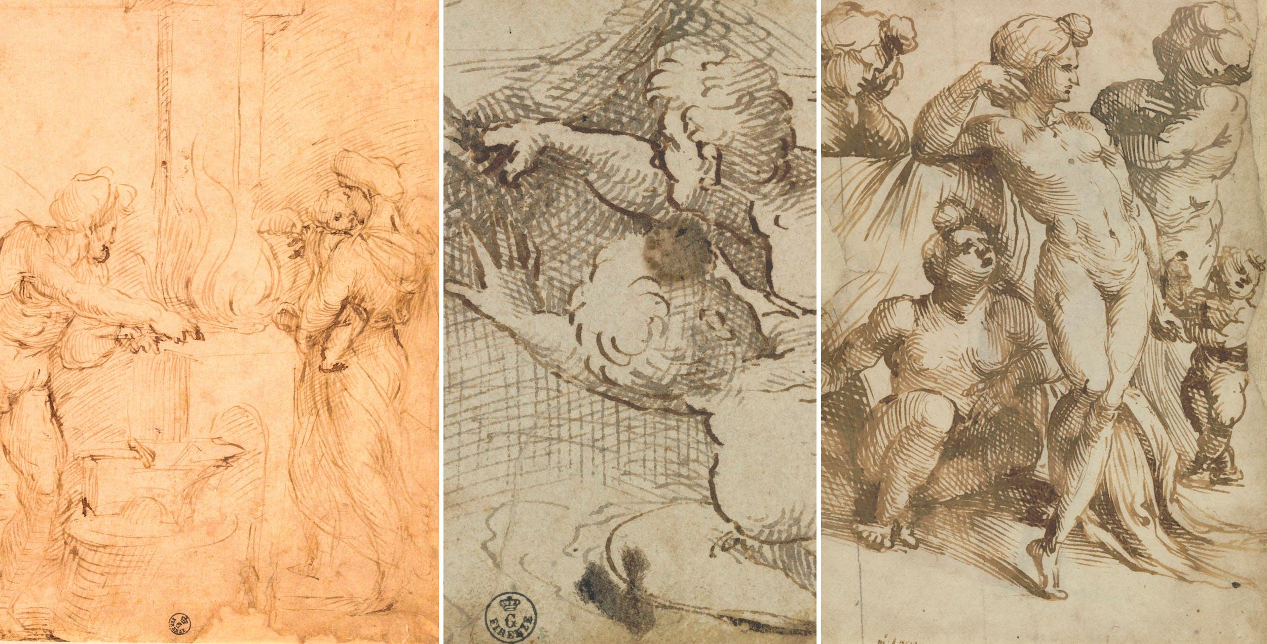 Sezione II - Aspertini: A) Venere con Amore nella fucina di Vulcano  B)  Tre guerrieri che si mettono in salvo, raggiungendo la riva di un fiume  C) Gruppo di quattro donne e bambino