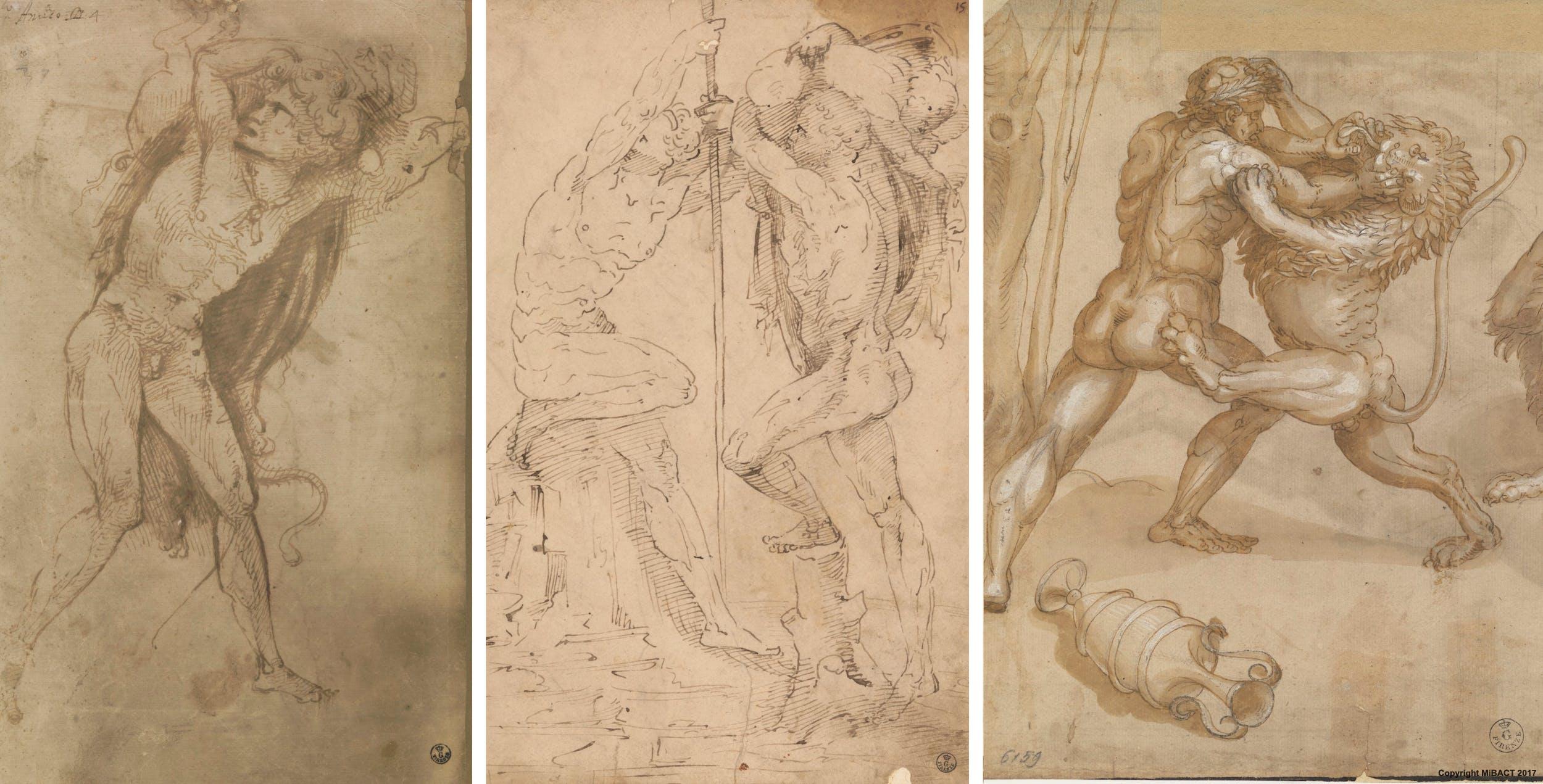 Aspertini: dettagli di A) Ercole e il cinghiale B) S.Cristoforo con Gesù C) Studio per Ercole e il leone di Nemea