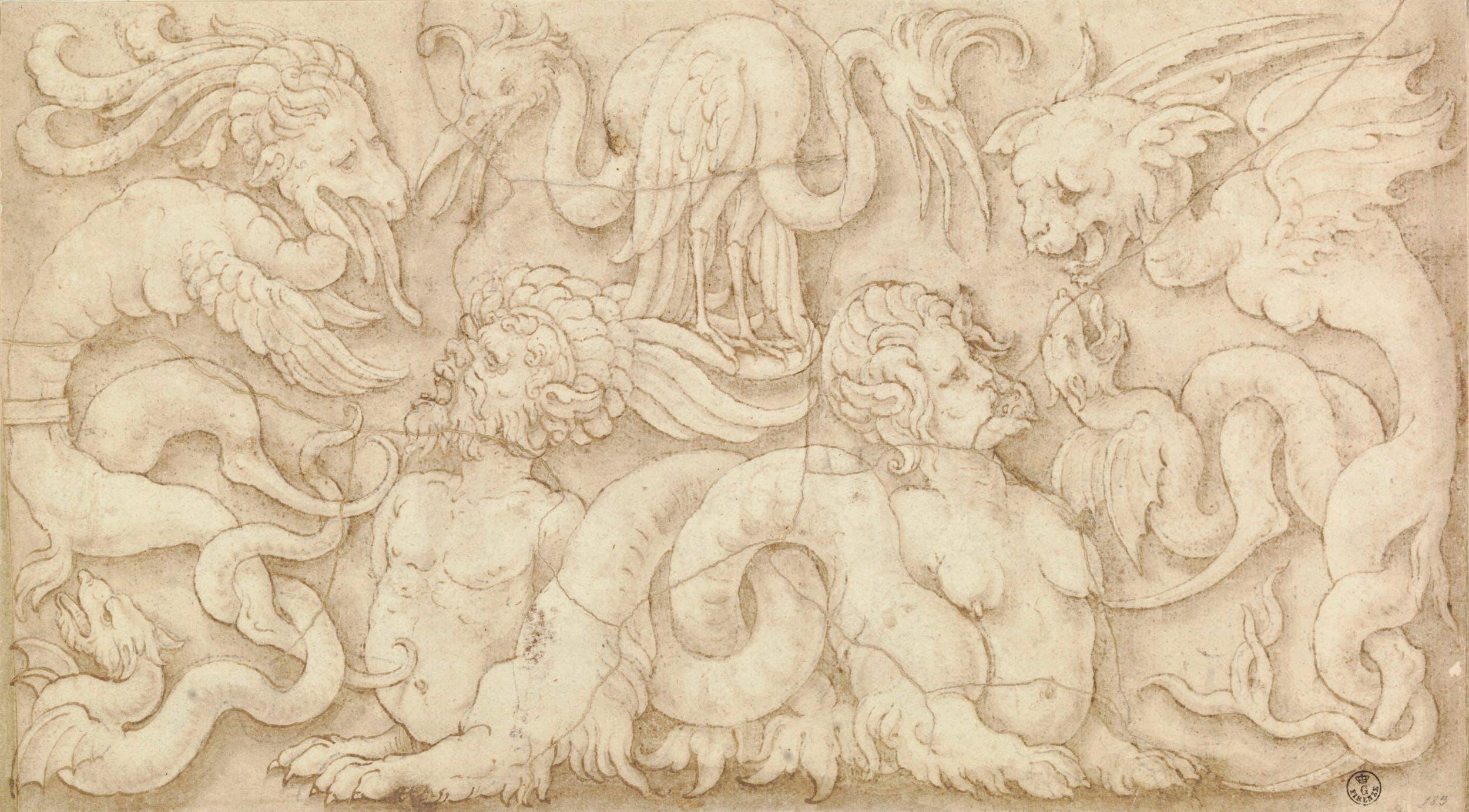Penna e inchiostro, pennello e inchiostro diluito, tracce di pietra nera, carta (202 x 364 mm.) - Inv. 1641 E
