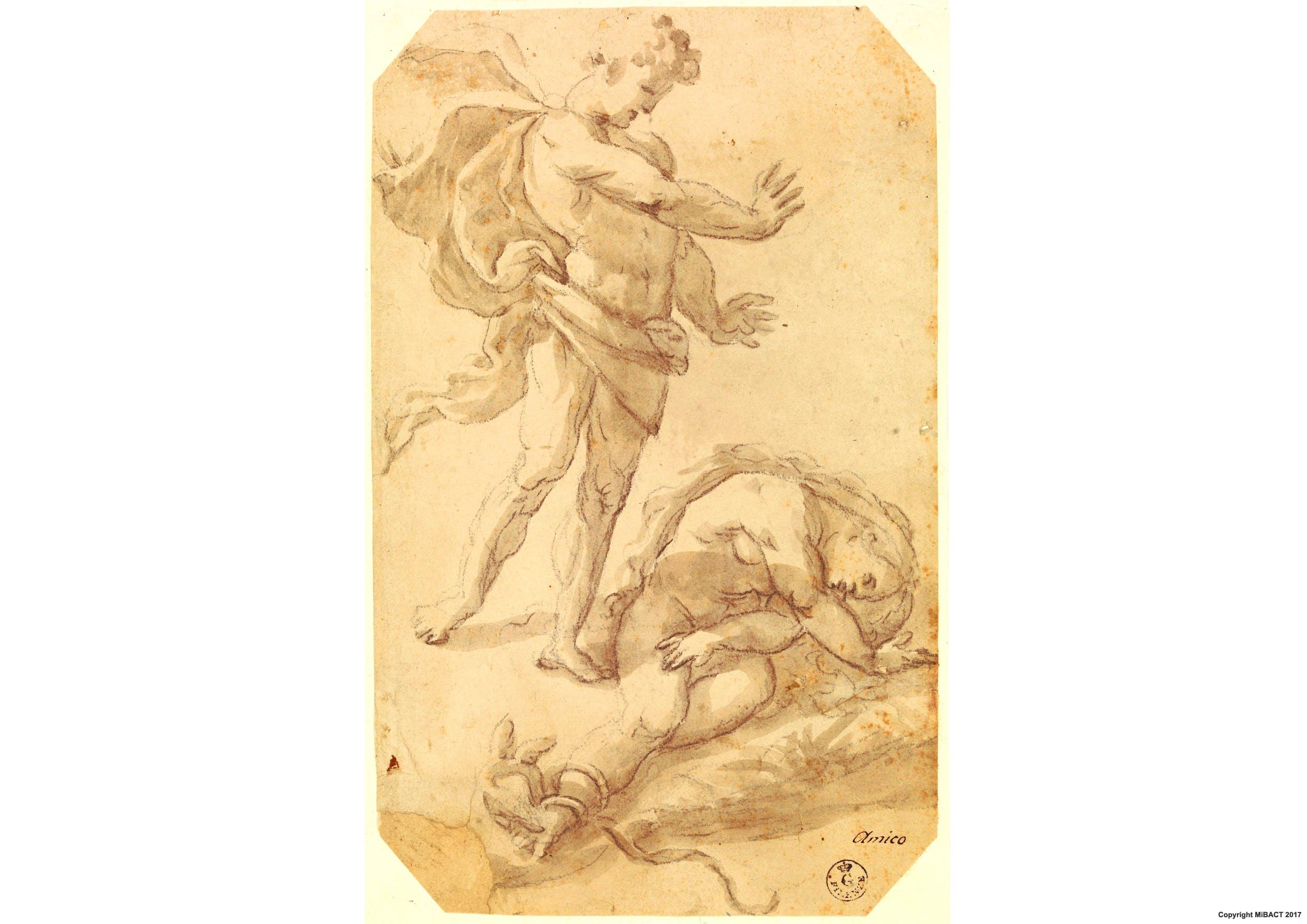 Pietra nera, pennello e inchiostro diluito, carta (268 x 167 mm.) - Inv. 14139 F
