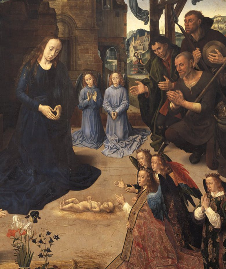 Adoration of the Shepherds with angels and Saint Thomas, Saint Anthony, Saint Margaret, Mary Magdalen and the Portinari family (recto); Annunciation (verso)