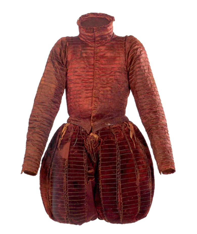 Burial clothes of Don Garzia de' Medici:  Doublet with breeches, surcoat