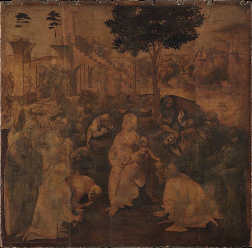 1. 1.Leonardo da Vinci, Adorazione dei Magi, prima del restauro