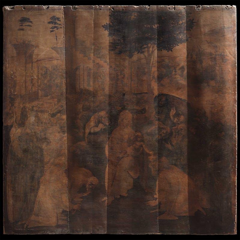 2. Leonardo da Vinci, Adorazione dei Magi; il dipinto, prima del restauro, a luce radente