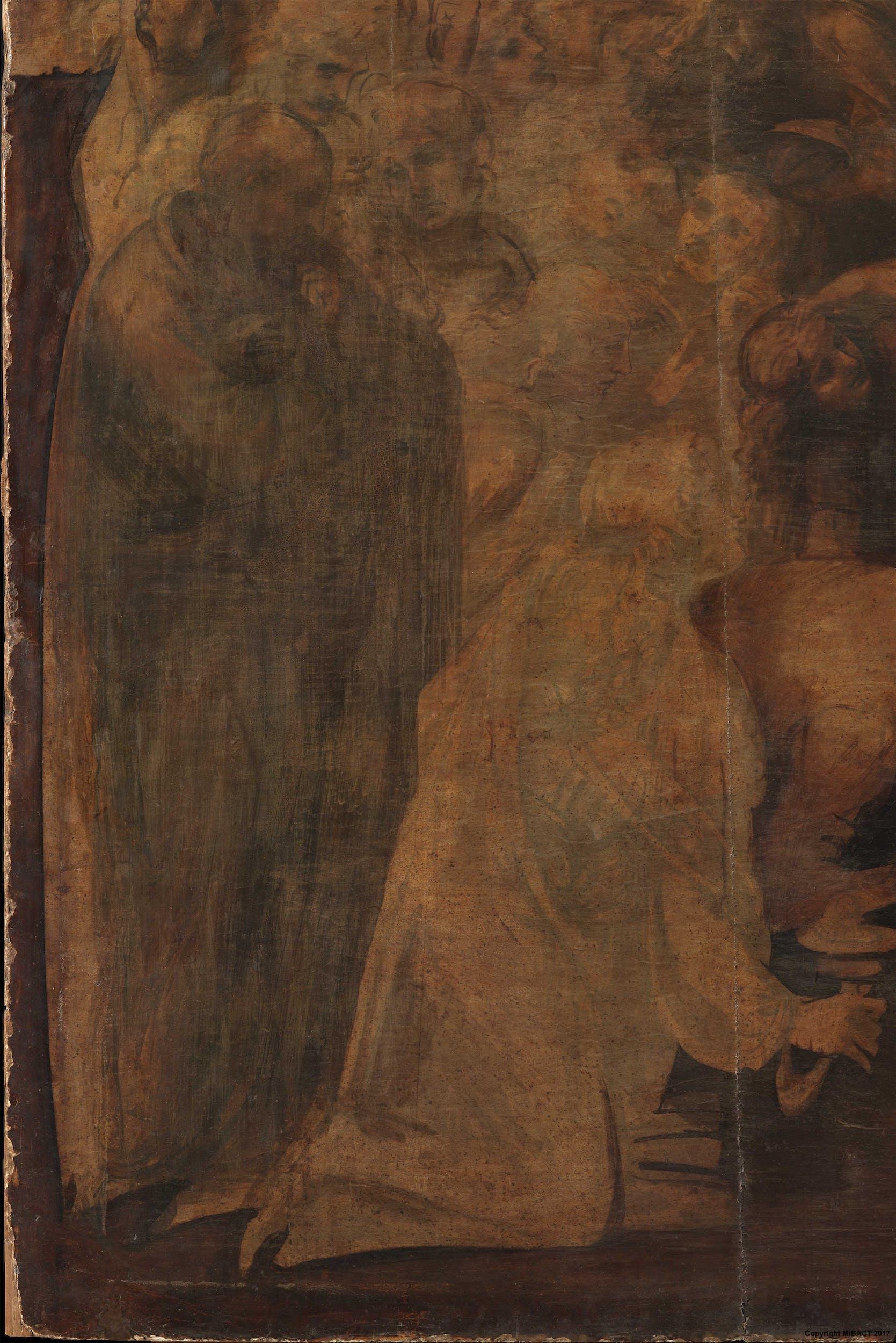 4. Particolare del personaggio in pedi, a sinistra, prima del restauro