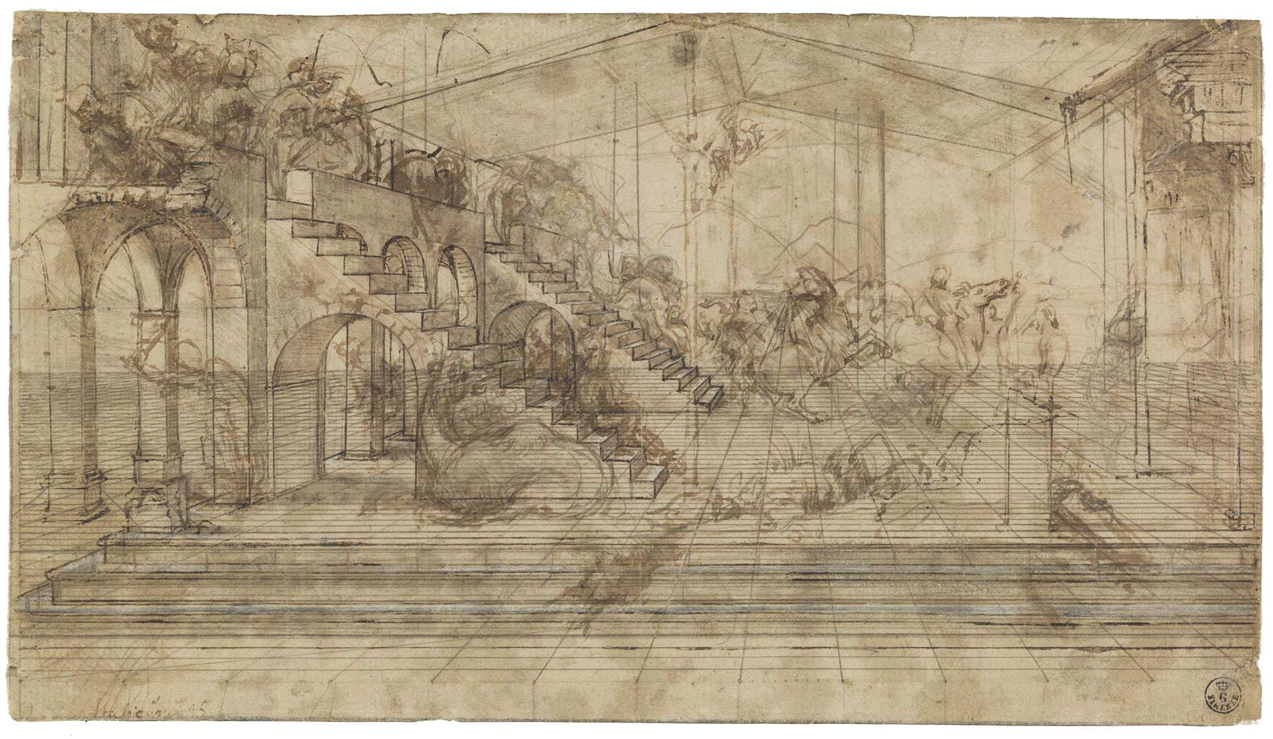 5. Leonardo da Vinci, disegno preparatorio dell'Adorazione dei Magi. Gabinetto Disegni e Stampe degli Uffizi