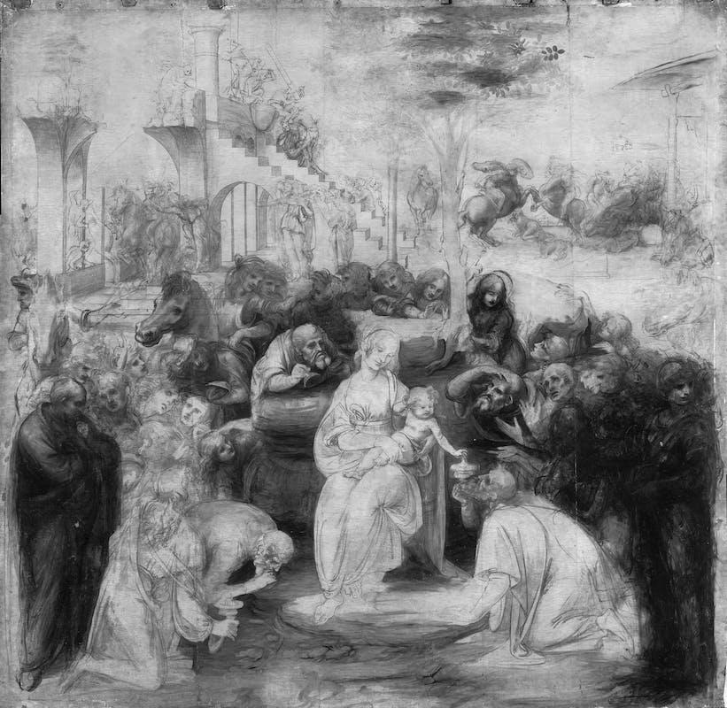 6. Leonardo da Vinci, Adorazione dei Magi, riflettografia IR