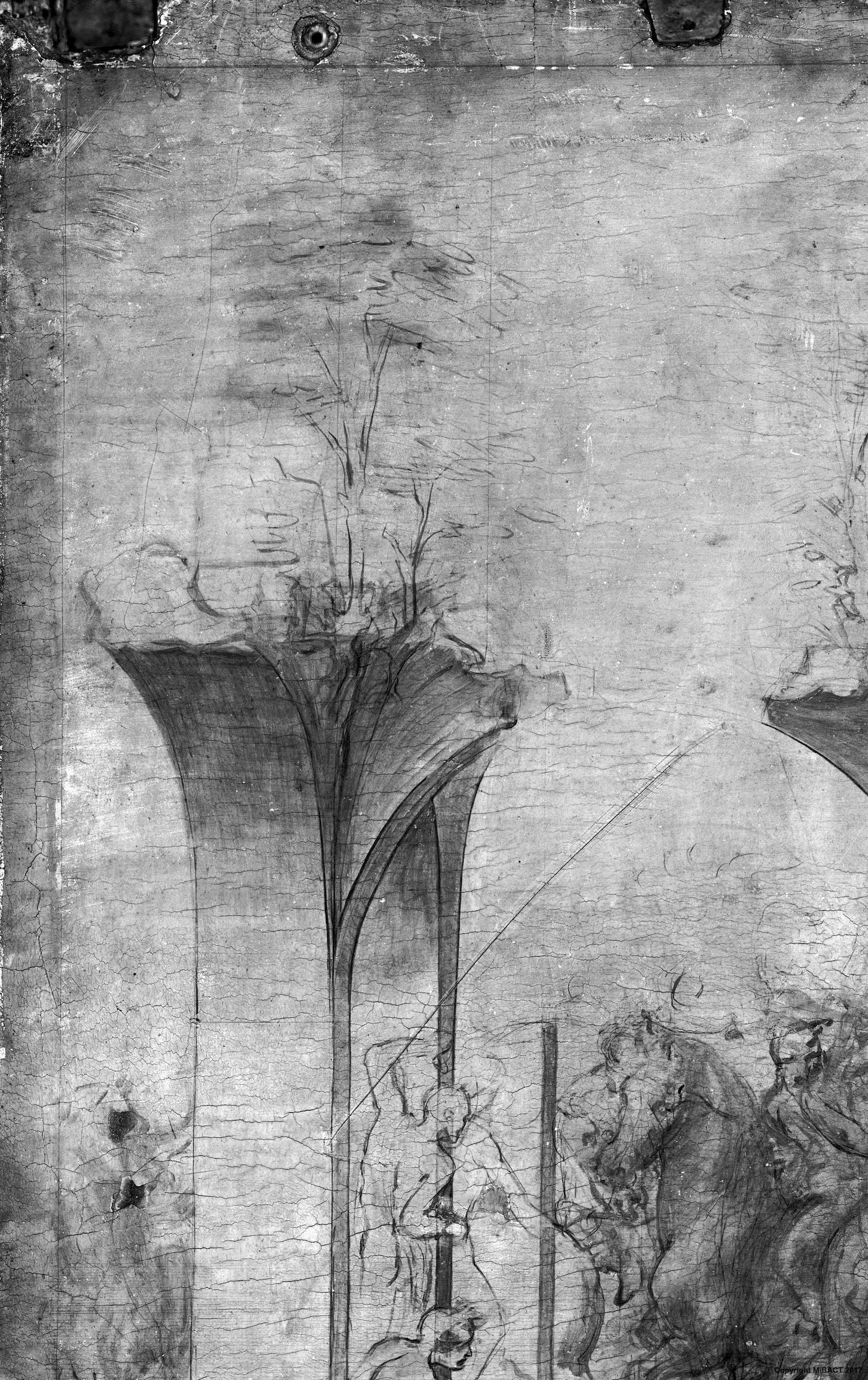 7a. Leonardo da Vinci, Adorazione dei Magi, dettaglio della riflettografia IR con le incisioni che segnano i bordi