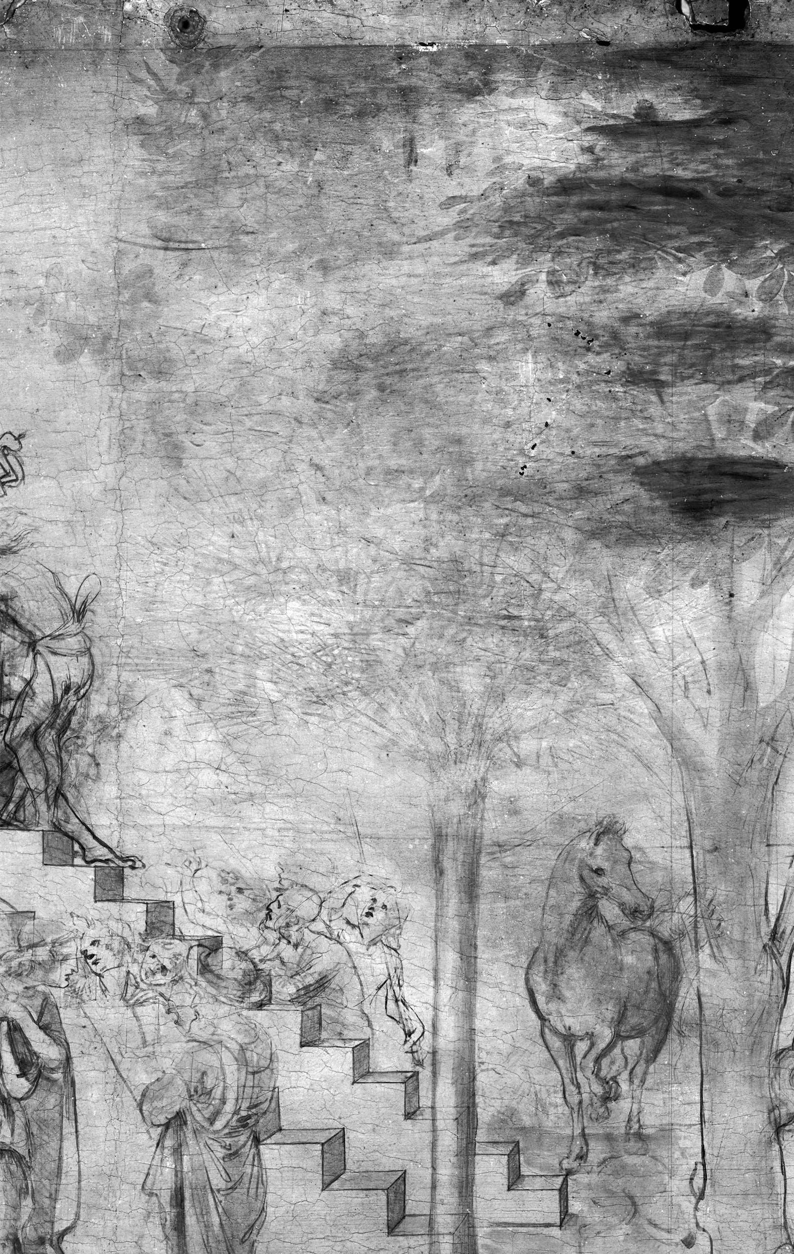 7b. Leonardo da Vinci, Adorazione dei Magi, dettaglio della riflettografia IR con le incisioni che segnano i bordi