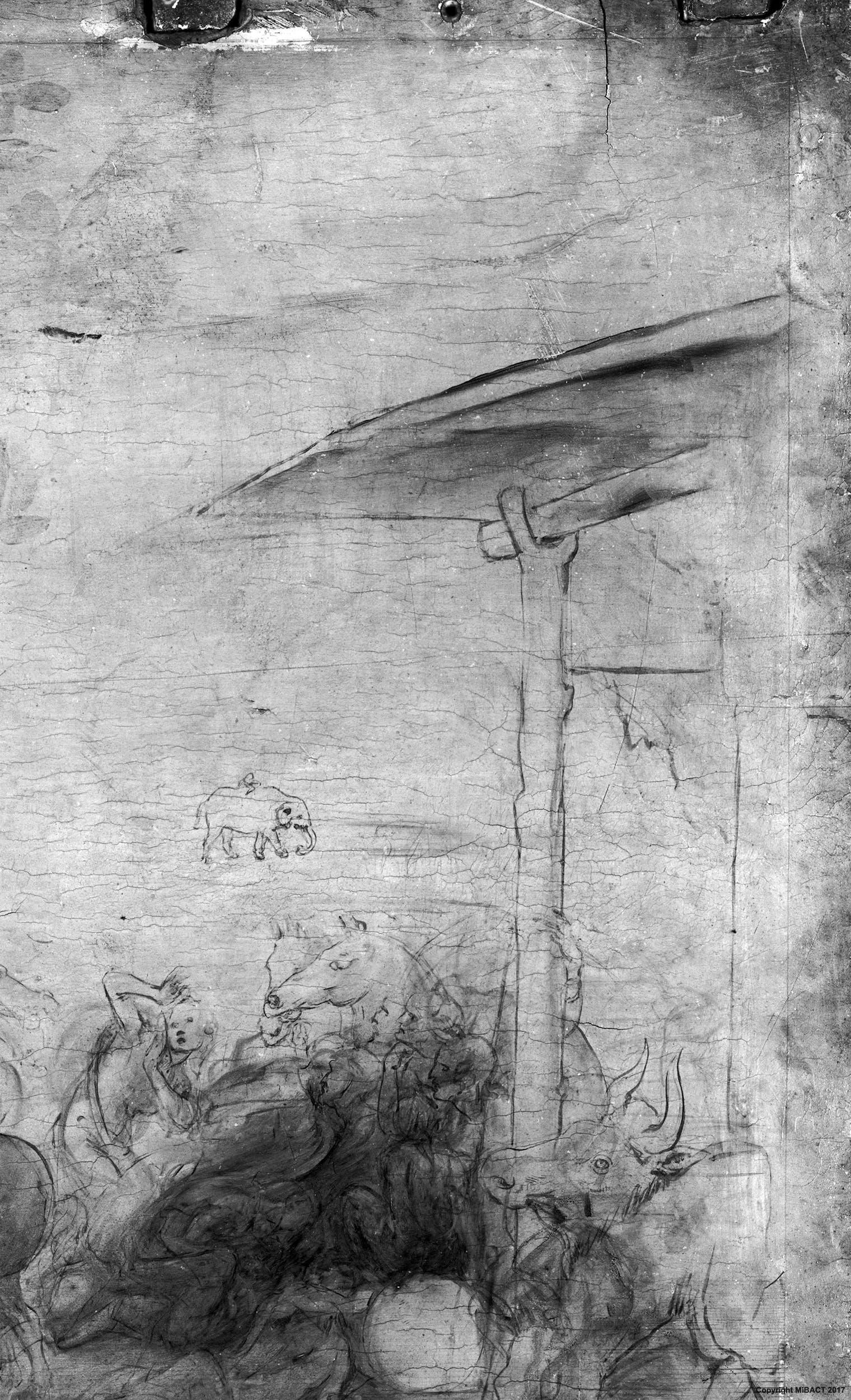 7c. Leonardo da Vinci, Adorazione dei Magi, dettaglio della riflettografia IR con le incisioni che segnano i bordi