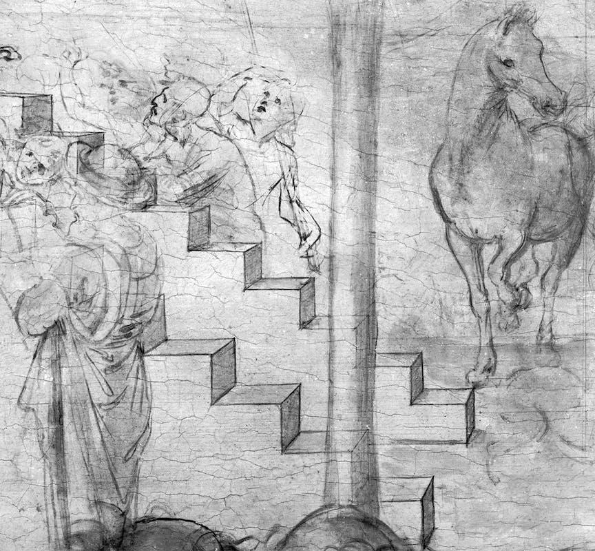 8. Leonardo da Vinci, Adorazione dei Magi, riflettografia IR, dettaglio dell'architettura