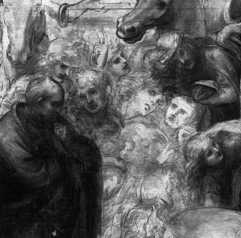 9. Leonardo da Vinci, Adorazione dei Magi, riflettografia IR, dettaglio dei personaggi