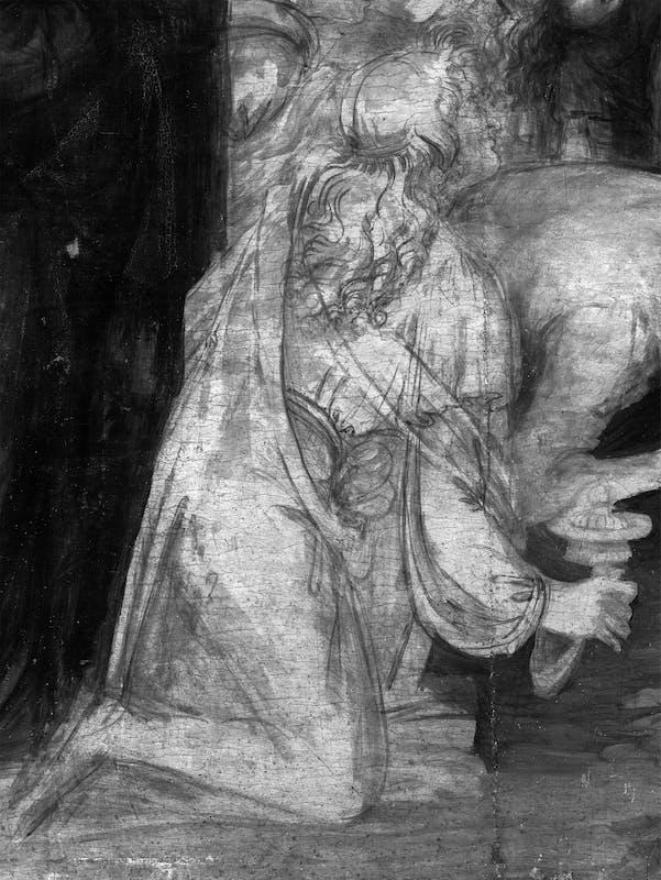 10. Leonardo da Vinci, Adorazione dei Magi, riflettografia IR, dettaglio con le acquerellature del sotto modellato