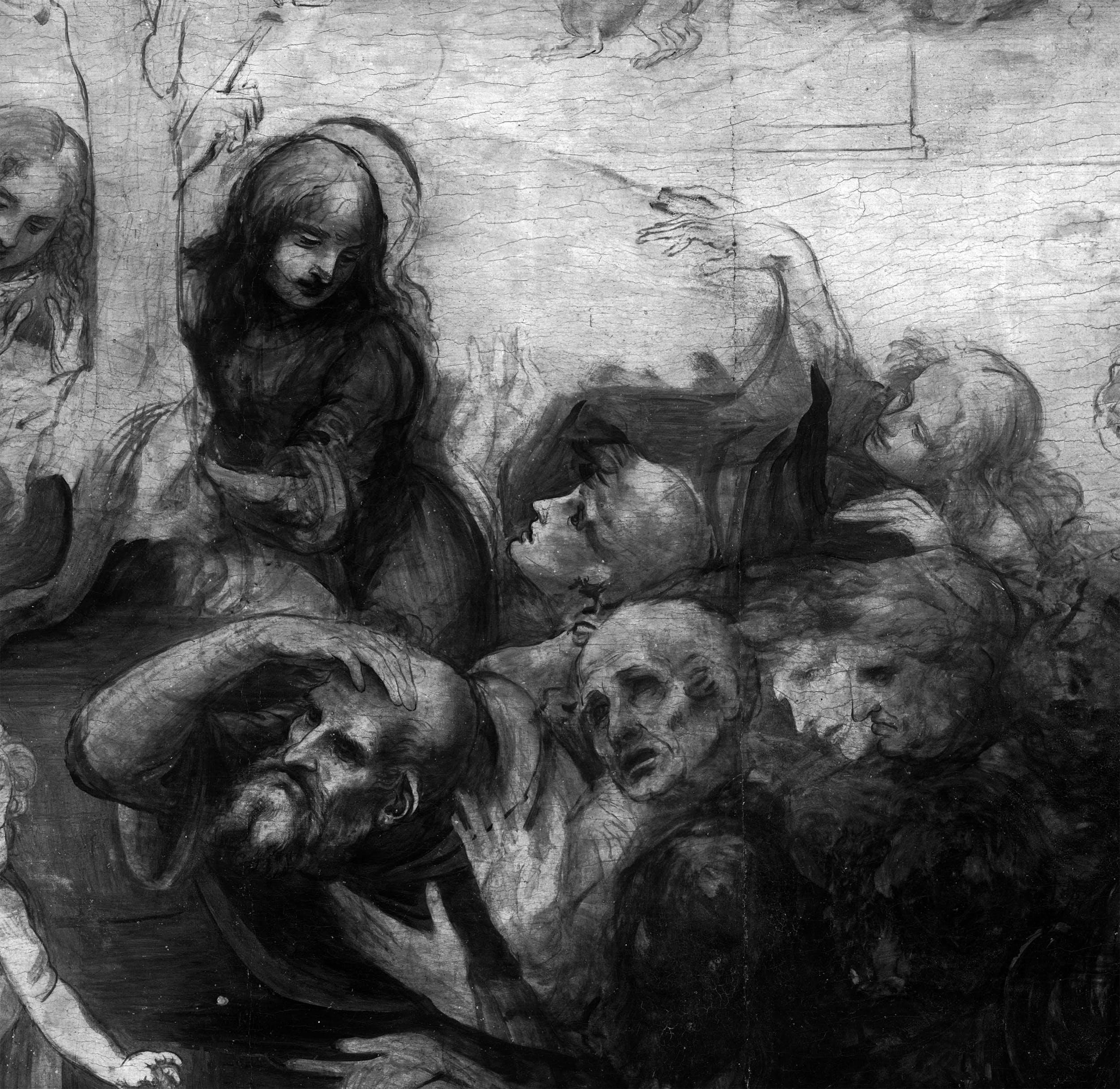 11. Leonardo da Vinci, Adorazione dei Magi, riflettografia IR, dettaglio dei personaggi nel secondo piano