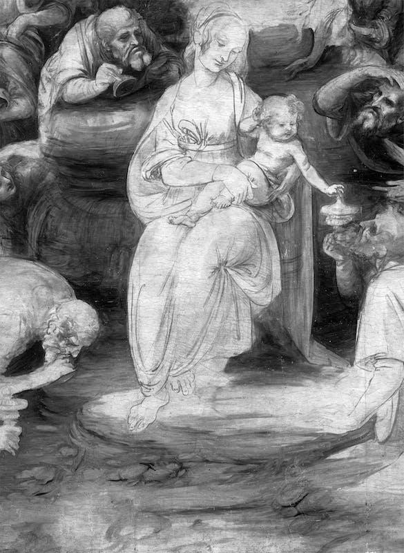 12. Leonardo da Vinci, Adorazione dei Magi, riflettografia IR, dettaglio del burrone ai piedi della Vergine