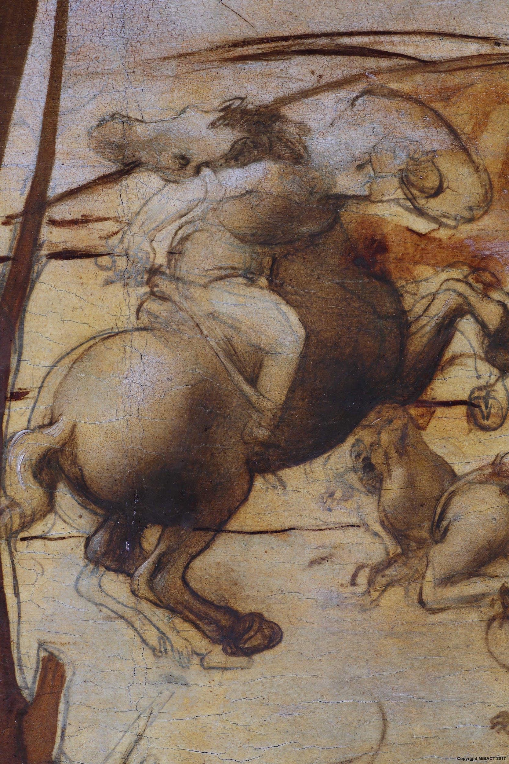 14. Leonardo da Vinci, Adorazione dei Magi, dettaglio della battaglia di cavalieri
