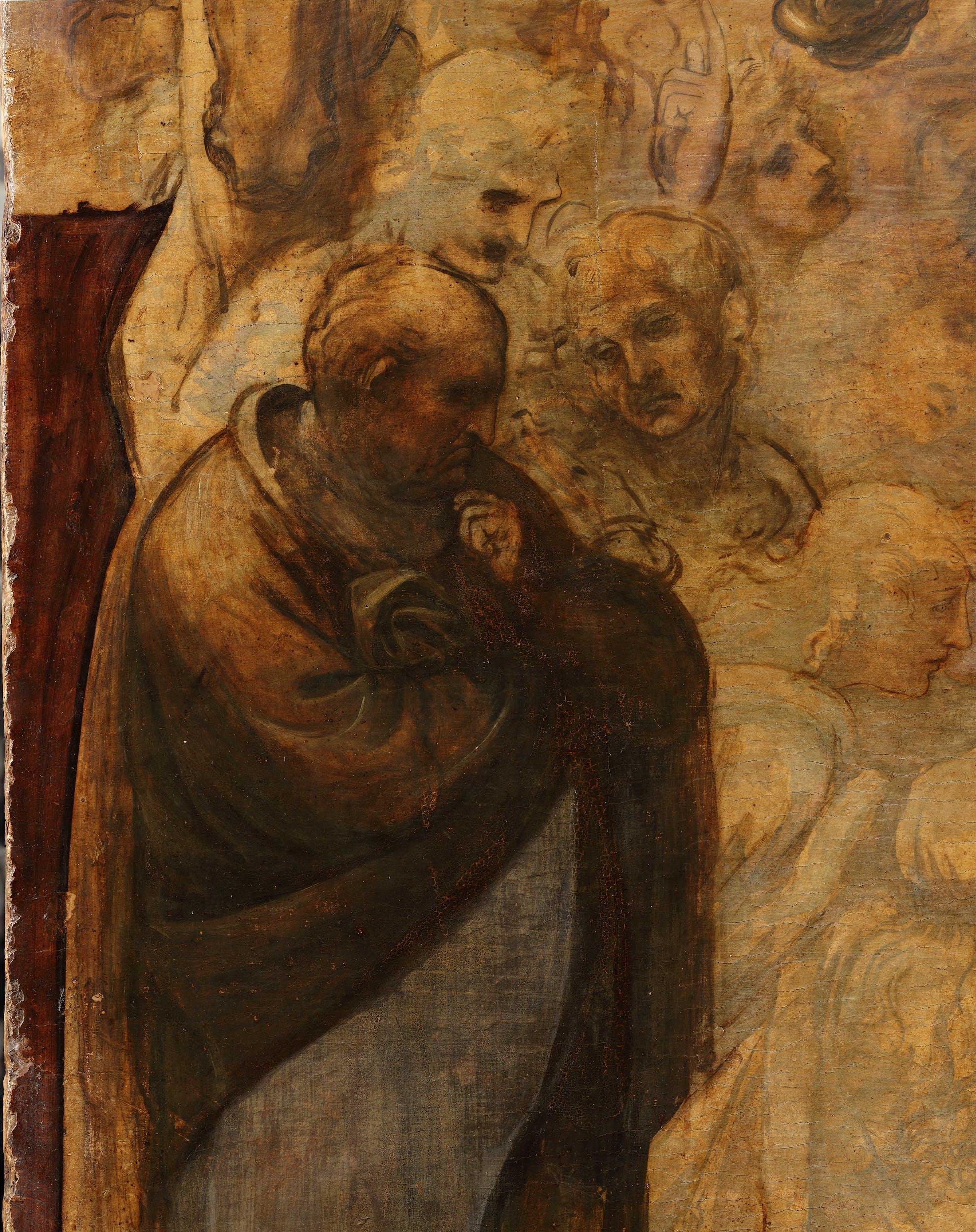 15. Leonardo da Vinci, Adorazione dei Magi, dettaglio in corso di pulitura