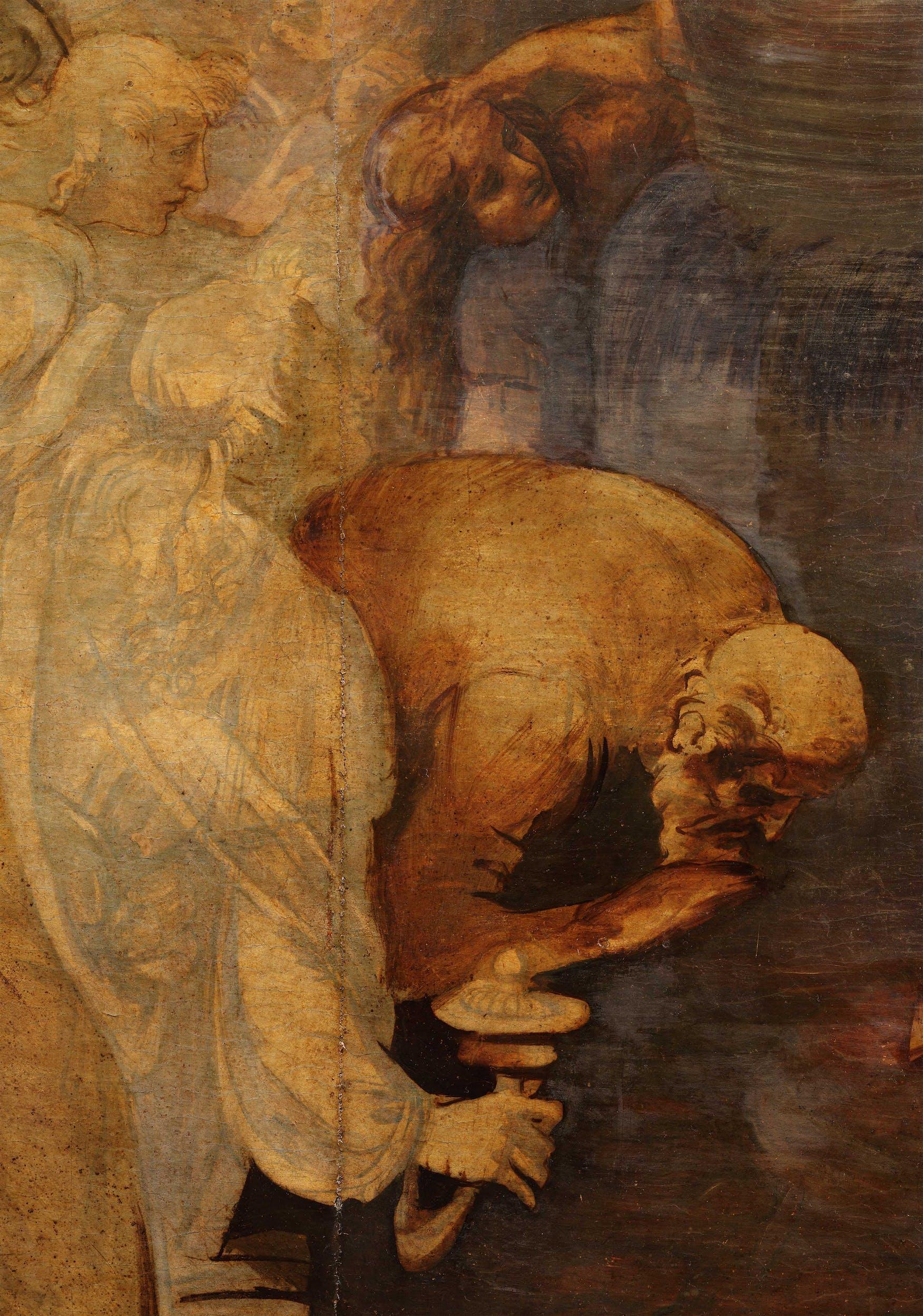 16. Leonardo da Vinci, Adorazione dei Magi, dettaglio in corso di pulitura