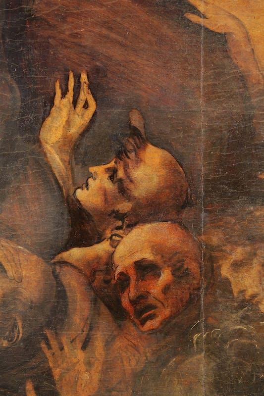 17. Leonardo da Vinci, Adorazione dei Magi, dettaglio in corso di pulitura