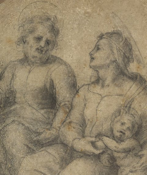 Madonna on the ground with Child, Saint Joseph and young Saint John