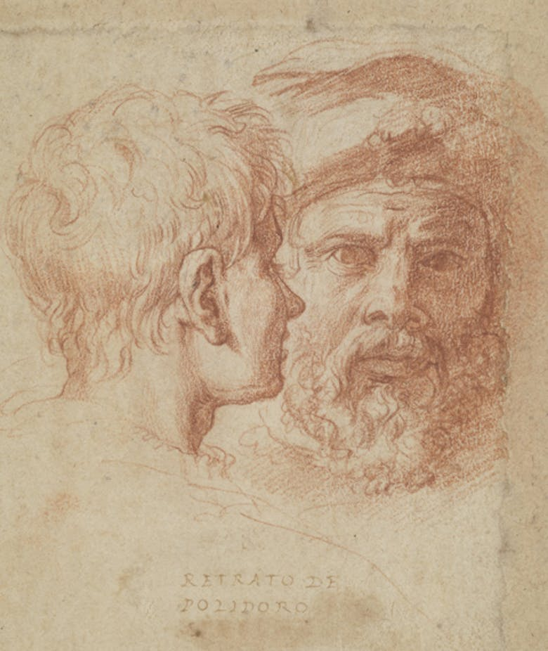 Two male heads (Self-portrait with friend?)