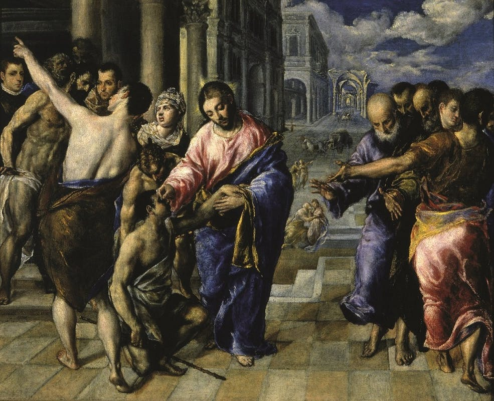 Domínikos Theotokópoulos, detto El Greco (Iraklion, 1541 - Toledo, 1614) La guarigione del nato cieco 1570-1576 ca. Olio su tela Parma, Galleria Nazionale
