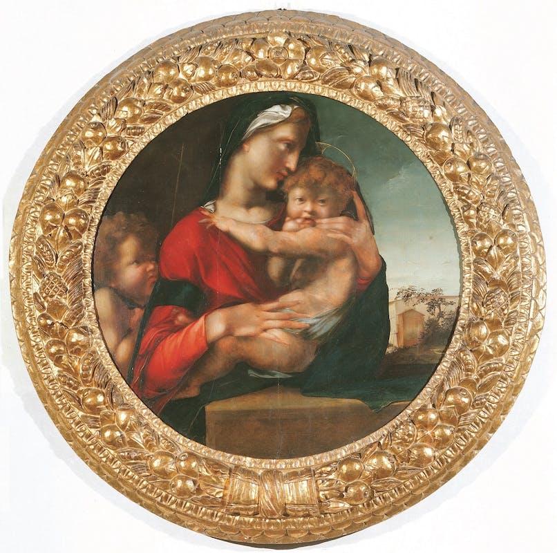 Alonso Berruguete (Paredes de Nava, 1488 ca. - Toledo, 1561) Madonna col Bambino e san Giovannino (Tondo Loeser) 1513-1514 Olio su tavola Firenze, Palazzo Vecchio, Collezione Loeser