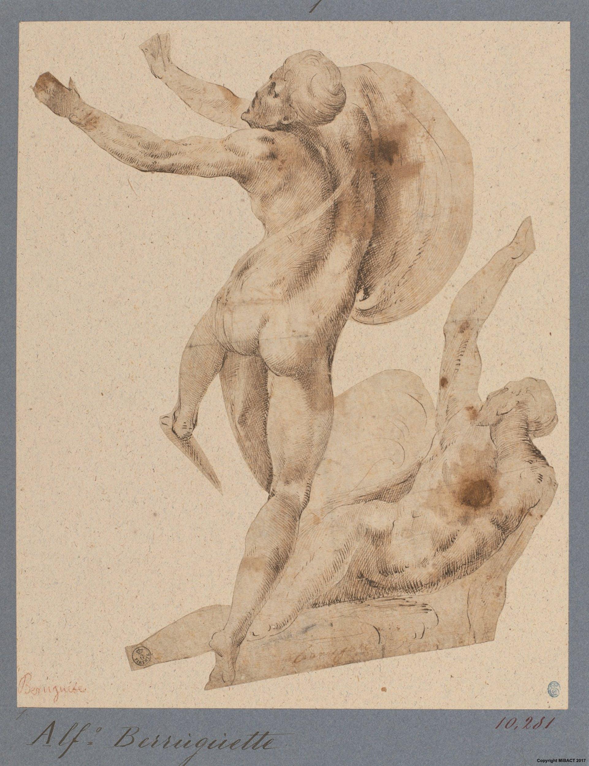 Alonso Berruguete (Paredes de Nava,1488 ca. - Toledo, 1561) Due figure nude maschili post 1518 Penna e inchiostro, pennello e inchiostro diluito, carta Firenze, Gallerie degli Uffizi, Gabinetto dei Disegni e delle Stampe
