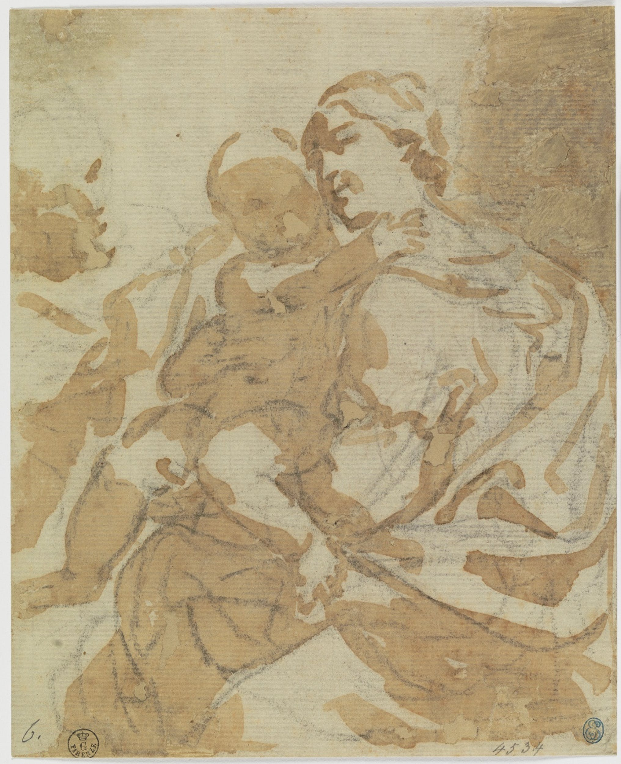 Elisabetta Sirani Sacra Famiglia Pennello e inchiostro diluito, pietra nera, carta Firenze, Gallerie degli Uffizi, Gabinetto dei Disegni e delle Stampe