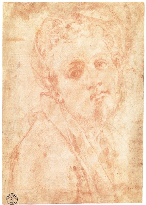 Jacopo da Pontormo (Pontorme, Empoli 1494 – Firenze 1557) Autoritratto 1526-1528 Pietra rossa, carta parzialmente tinteggiata al verso con pietra rossa diluita Firenze, Gallerie degli Uffizi, Gabinetto dei disegni e delle stampe