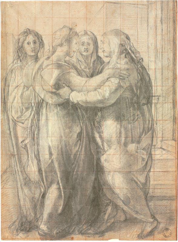 Jacopo da Pontormo (Pontorme, Empoli 1494 – Firenze 1557) Modello per la Visitazione 1528-1529 circa Pietra nera, tracce di gessetto bianco, quadrettatura a pietra rossa, carta Firenze, Gallerie degli Uffizi, Gabinetto dei disegni e delle stampe