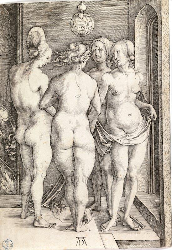 Albrecht Dürer (Norimberga 1471 – 1528) Quattro donne nude 1497 Incisione a bulino Firenze, Gallerie degli Uffizi, Gabinetto dei Disegni e delle Stampe