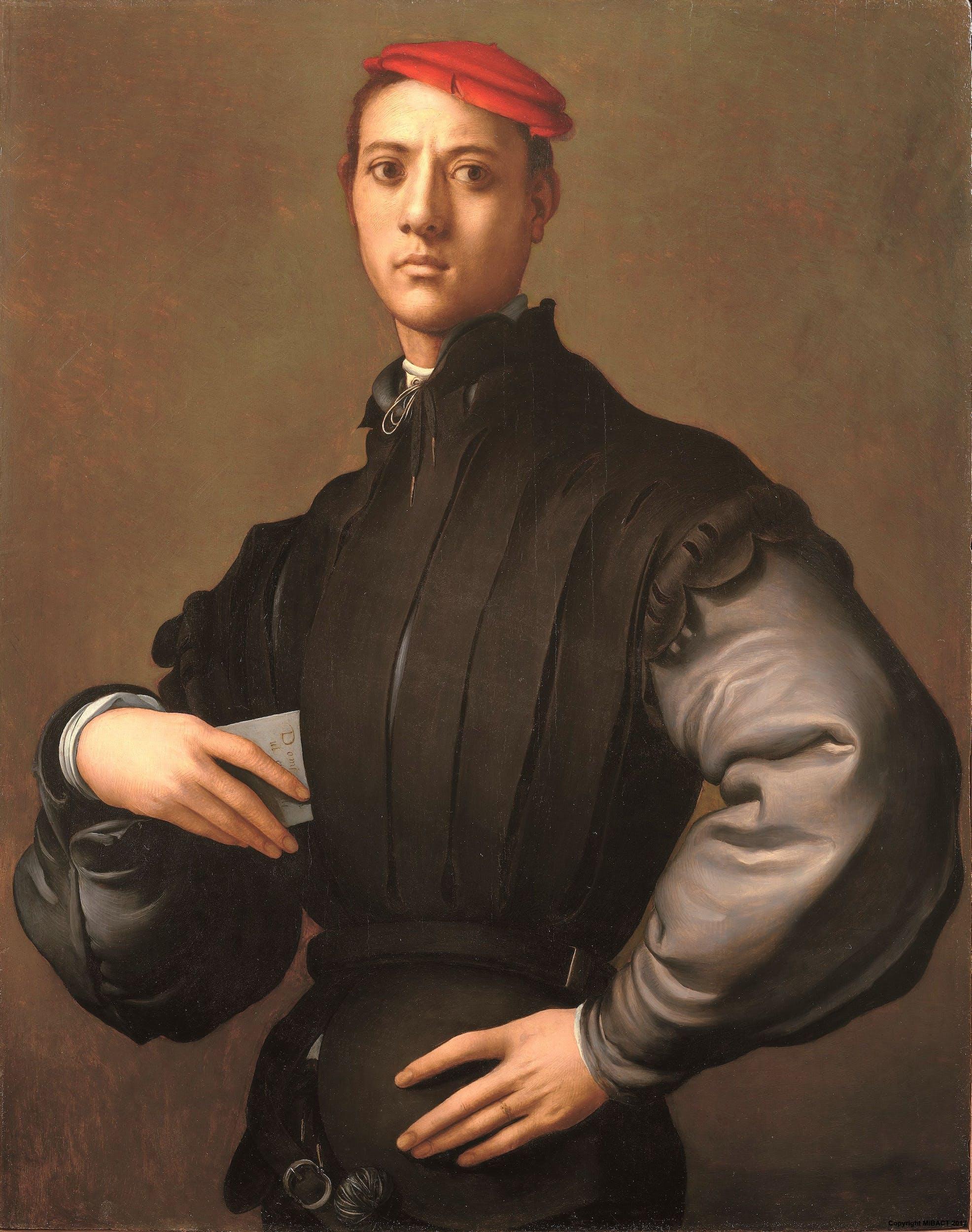 Jacopo da Pontormo (Pontorme, Empoli 1494 – Firenze 1557) Ritratto di giovane uomo con berretto rosso (Carlo Neroni?) 1530 circa Olio su tavola Collezione privata