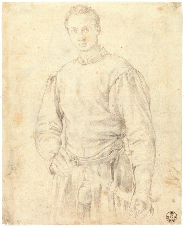 Jacopo da Pontormo (Pontorme, Empoli 1494 – Firenze 1557) Studio per un ritratto di giovane armato 1529-1530 circa Pietra nera, carta Firenze, Gallerie degli Uffizi, Gabinetto dei disegni e delle stampe