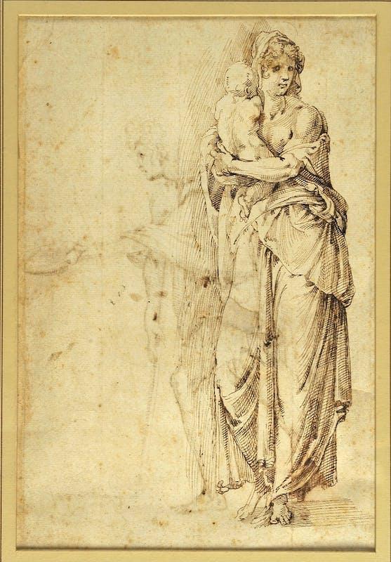 Giovanfrancesco Rustici, Figura femminile con bambino, recto, disegno a penna e inchiostro, 25 x 15,3 cm