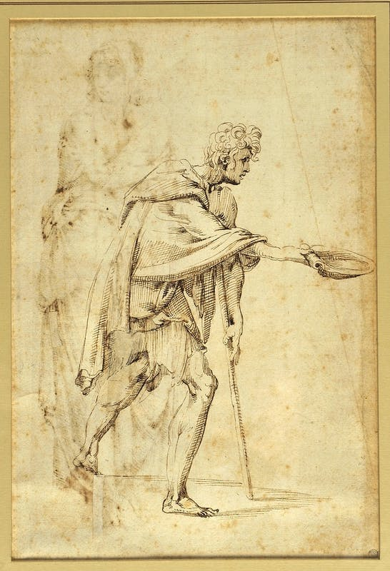 Giovanfrancesco Rustici, Mendicante, verso disegno a penna e inchiostro, 25 x 15,3 cm
