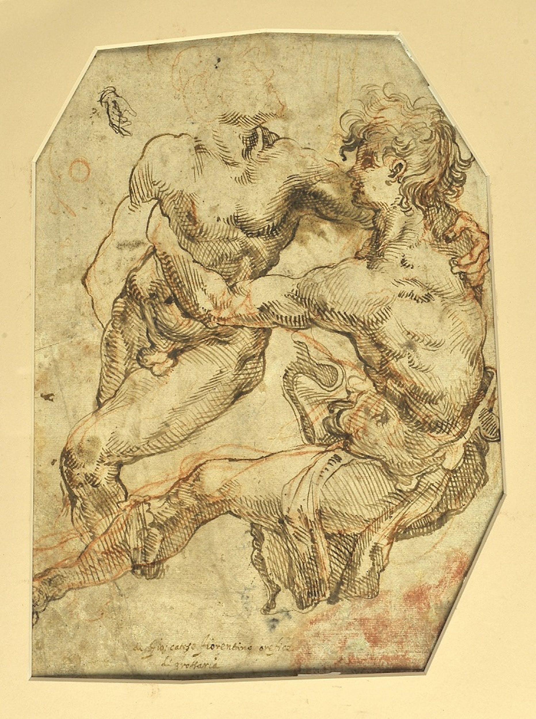 Giovanni Catesi  Studio per un gruppo di due figure maschili, recto, verso, disegno a penna e inchiostro e pietra rossa, 28,8 x 21,3 cm