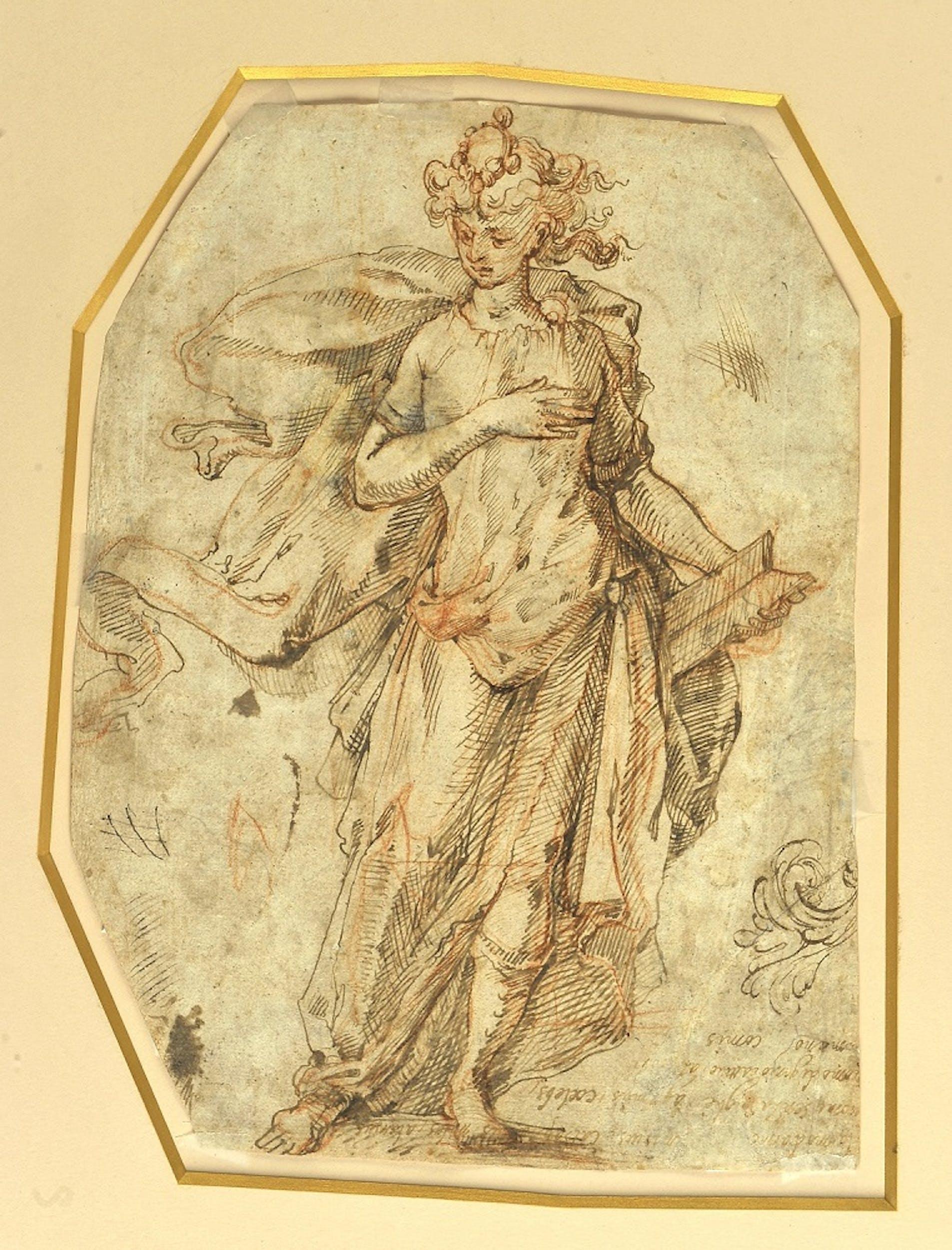 Giovanni Catesi, Studi per un motivo ornamentale a foglie e per una elegante figura, verso disegno a penna e inchiostro e pietra rossa, 28,8 x 21,3 cm