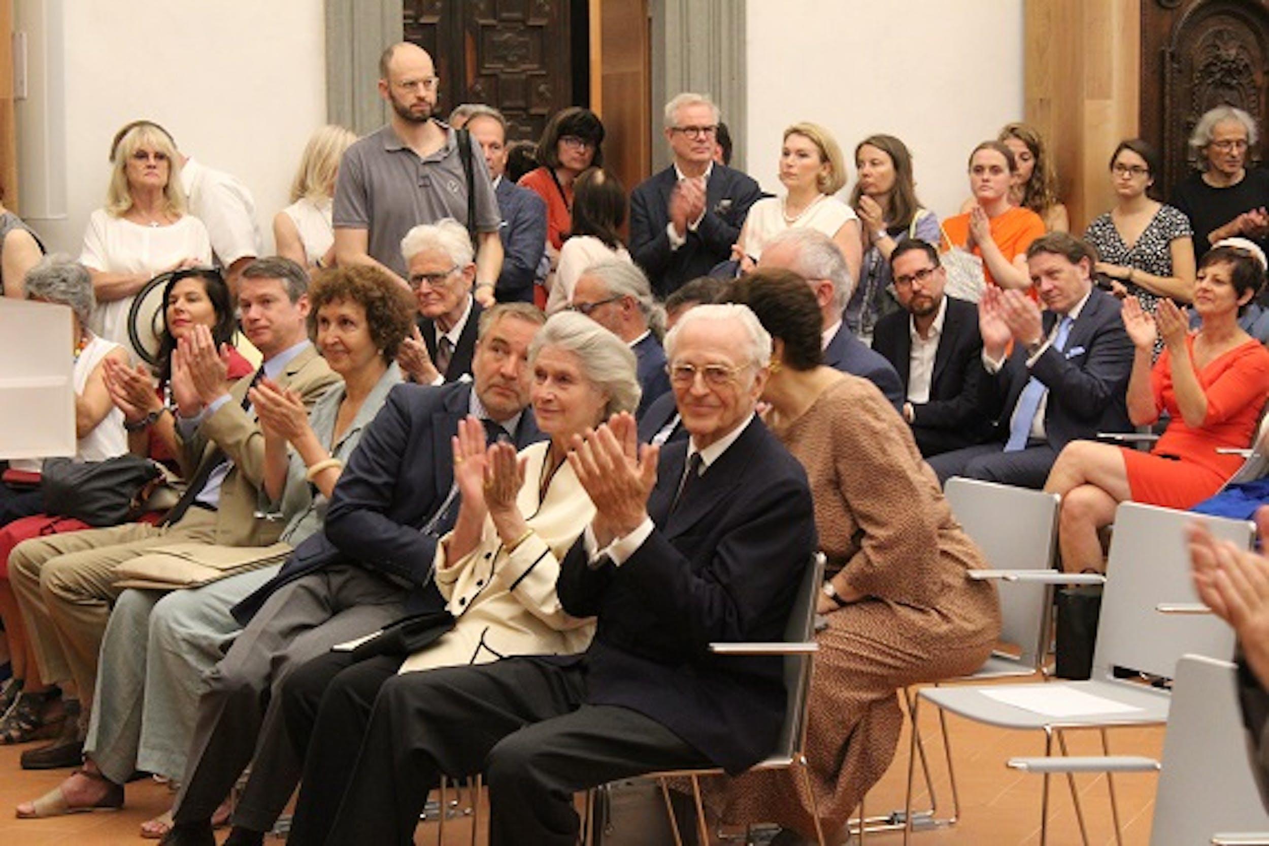 S.A.R. Duca Franz di baviera alla presentazione della retrospettiva in Auditorium Vasari, Uffizi